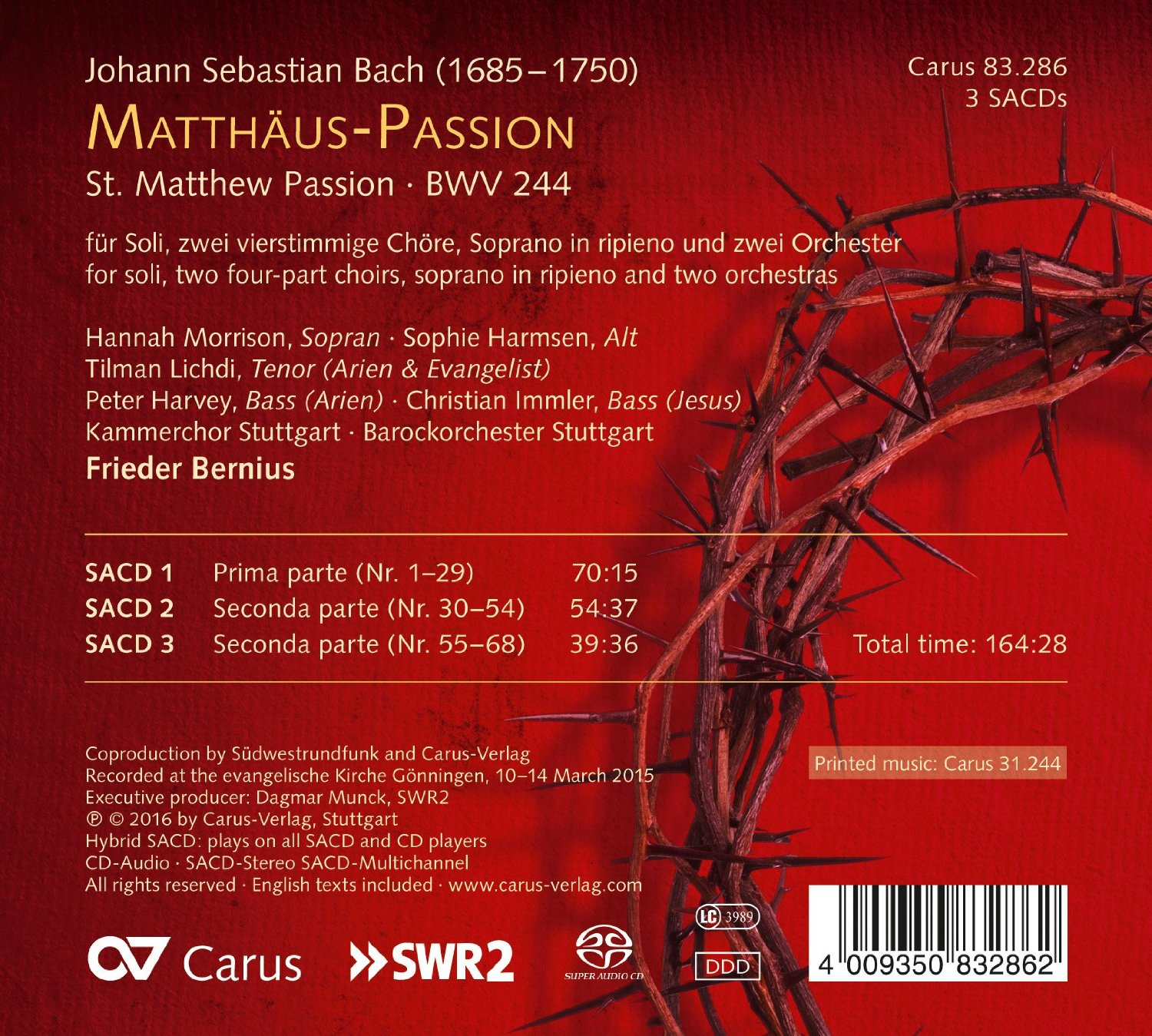 Bios Veldhoven Matthaus Passion Bwv 244 Discography Part 8 Complete Recordings